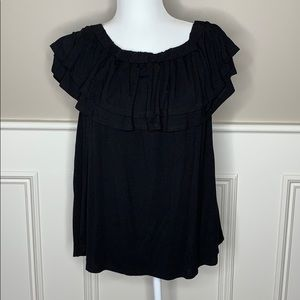 Black MTS Tiered Ruffle Neck Blouse Sz. M